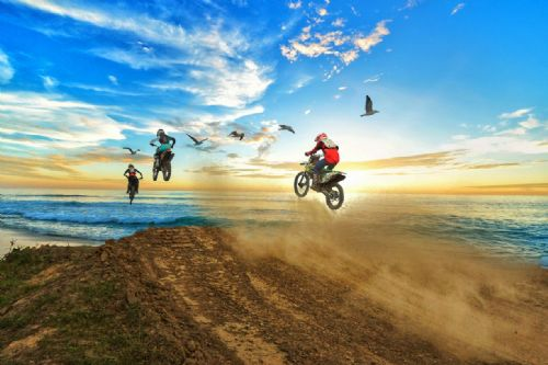 Motocross Extreme Sports  Canvas Framed Wall Art - 50